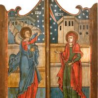 Ușile împărătești ale unui iconostas pictat pe panou de lemn