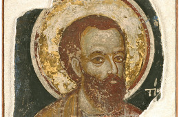 Mural fragment: head of a saint