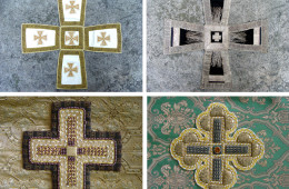 Crosses on the chalice veil and on the phelonion
