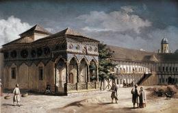 Biserica si hanul, acuarela Henri Trenk